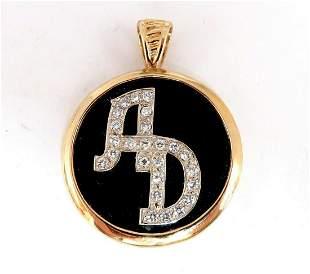 Black Onyx Natural Diamonds Necklace .52ct & Reversible