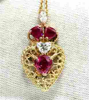 3.78ct AIGS Certified No Heat Ruby Diamonds Necklace