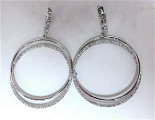 1.20ct natural diamonds loop rings dangle earrings 14kt