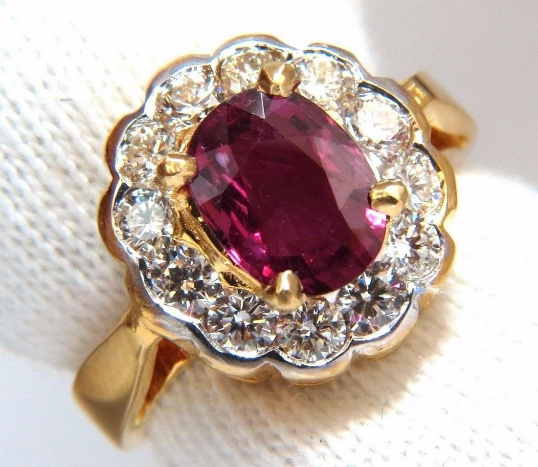 GIA Certified 1.61ct oval cut purple red ruby 1.01ct di