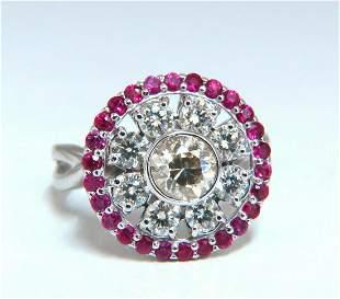 .76ct Fancy Color Diamond Ruby Cocktail Circular Cluste