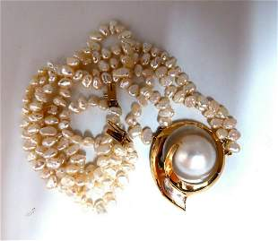 Off-Shape Mabe Pearl Fresh Water Double Stranded Bead N