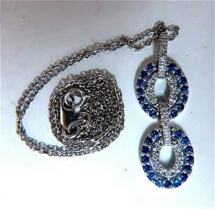 .90ct Natural Sapphire Diamonds Double Loop Link Neckla