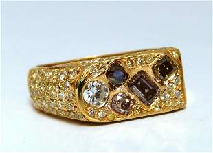 2.30ct Natural Fancy color Diamonds Mens Ring 14Kt