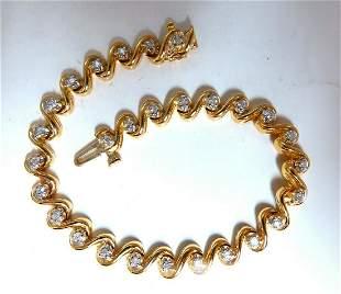 .82ct Natural Round Diamonds Slant Link Bracelet 14kt