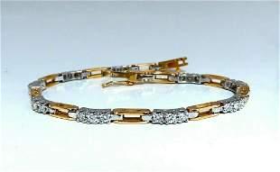 1.21ct Natural Round Diamonds Arch Link Bracelet 14kt