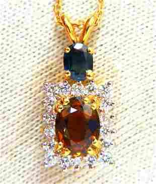 2.90ct Natural Orange & Blue sapphire Diamonds Drop