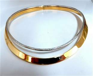 18kt Gold Italy Two Tier Diamond Cable Link Necklace