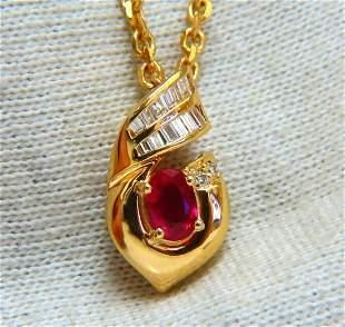 .91ct Natural Oval Ruby & Diamonds Necklace 14 Karat