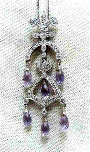 2.50ct Natural Briolette Amethyst Diamonds English