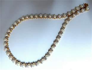3.03ct Natural Akoya Pearls & Diamonds Riviera Necklace