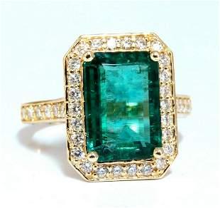 5.40ct Natural Vivid Green Emerald Diamonds Gilt Deco
