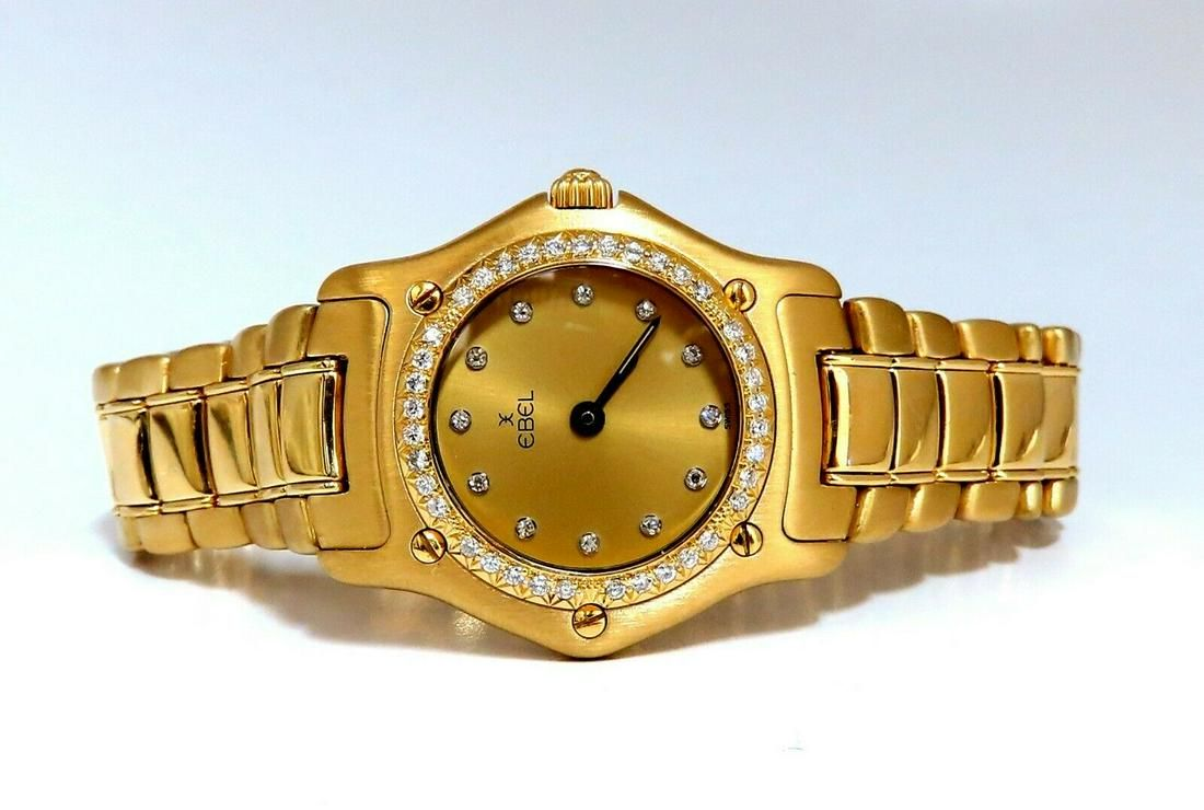 Authentic Ebel 1911 Gold Dial Diamonds Watch 18kt