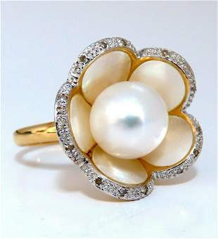 Flowering Pearl Ring 18Kt HandMade Inlay Unique