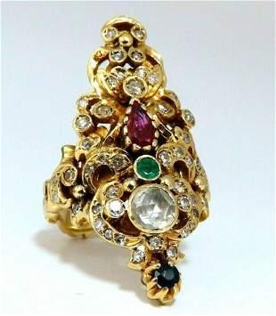 1.76ct Natural Ruby Sapphire Emerald Diamond Vintage