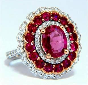 GIA Certified 4.06ct oval cut red No Heat Ruby diamonds
