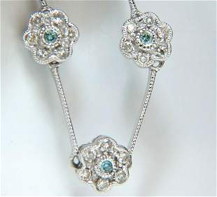 1.00CT ROUND BRILLIANT BLUE DIAMONDS FLOWER CLUSTER