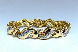 2.04ct Natural Round Diamonds S Link Bracelet 18Kt