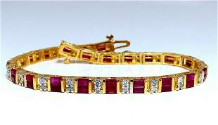 4.02ct Natural Ruby Diamonds Channel Line Tennis