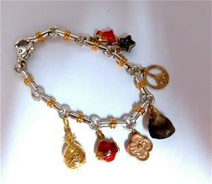 14kt & Sterling Silver Charms Bracelet