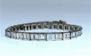 4.04ct Baguette Cut Diamonds Channel Bracelet Platinum