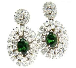 3.08ct Natural Tsavorite Diamonds Dangle Earrings 14kt