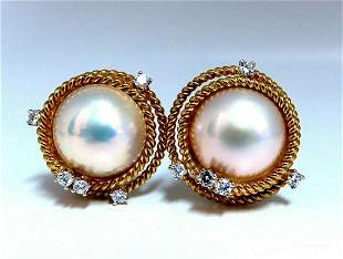 Mabe Pearls .50ct Diamonds Clip Earrings 18kt Gold