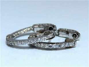 .30ct Natural Diamond Hoop Earrings 14 Karat In / Out