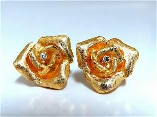 .08ct Diamonds Flower Rose Earrings 14Kt Vintage