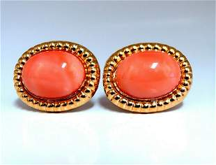 20mm Natural Coral Clip Earrings 14kt