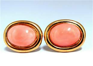 19mm Natural Coral Clip Earrings 14kt