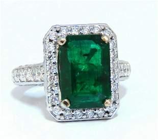 5.52ct Natural Vivid Green Emerald Diamonds Ring 14kt