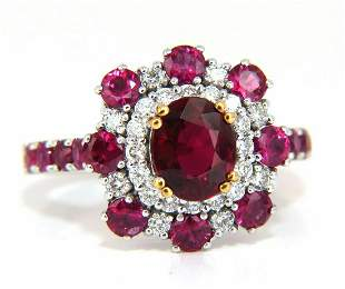 GIA Certified 2.92ct Natural Ruby Diamond Ring 14kt