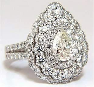 GIA Certified 2.62ct Pear Shape diamond Ballerina ring