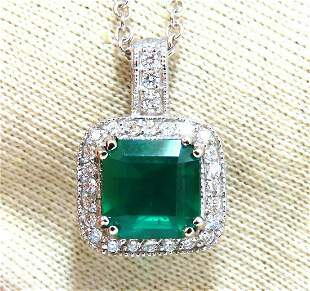 GIA Certified 3.77ct Natural Emerald Diamond Necklace