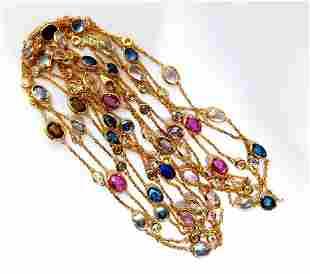 43.05ct. Natural Vivid Sapphires Diamonds Yard Necklace