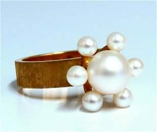 Handmade Pearl Raised Cluster Ring 14kt