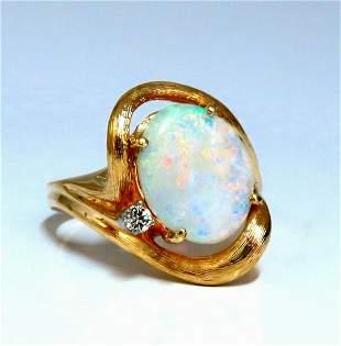 3.05ct Natural Australia Opal Diamonds Ring 14kt-