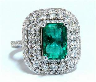 2.70ct Natural Emerald 2.10ct Diamonds Cluster Halo