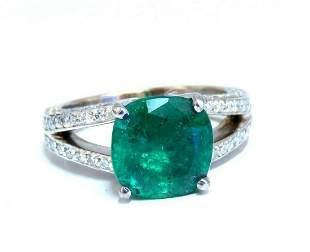 5.30ct Natural Cushion Emerald Diamonds Ring Platinum