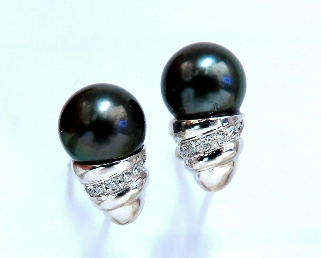 11mm natural tahitian pearl & .50ct diamonds raised cap