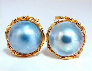 14kt Mabe Pearl Clip Earrings Shade Gray Blue