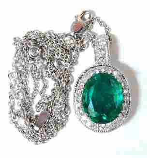 7.41ct Natural Emerald Diamonds Necklace 14kt Station &