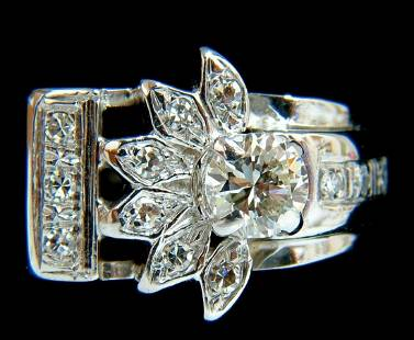 .72ct. VICTORIAN REVIVAL DIAMONDS COCKTAIL RING G/VS