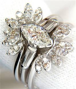 1.40ct. MARQUISE & ROUNDS DIAMOND RING & INSERT