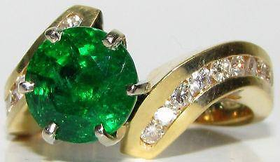4.50CT NATURAL ROUND EMERALD DIAMOND COCKTAIL A+