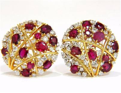 13.20ct NATURAL RED RUBY DIAMOND COCKTAIL CLUSTER