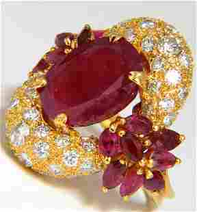 11.00CT NATURAL OVAL RED RUBY DIAMONDS COCKTAIL RING 14