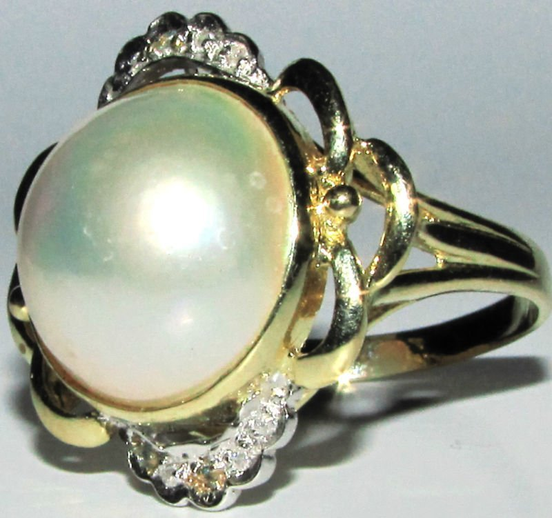 DIAMONDS MABE PEARL COCKTAIL RING 14KT