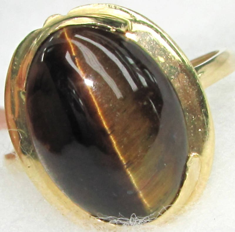NATURAL TIGER EYE RING T 14KT
